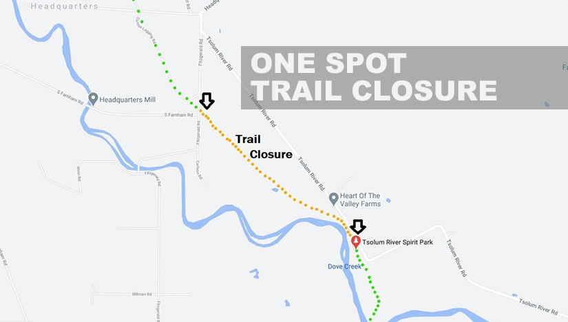 Portion of One Spot Trail Closed Until March